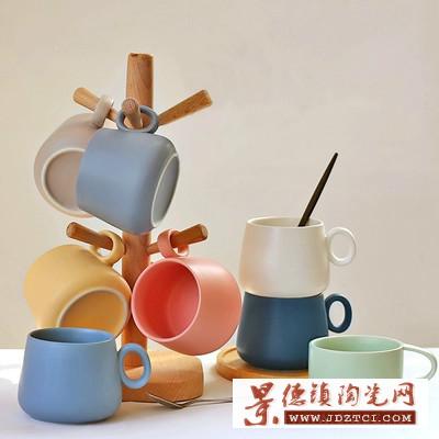 北欧风个性家庭小容量意式彩色陶瓷马克杯