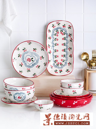 家用可爱樱桃陶瓷餐具套装家用吃饭碗菜盘鱼盘