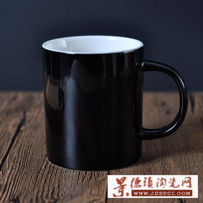 黑色色釉星座金色带手柄陶瓷茶杯