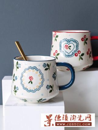 可爱樱桃陶瓷蓝红马克杯