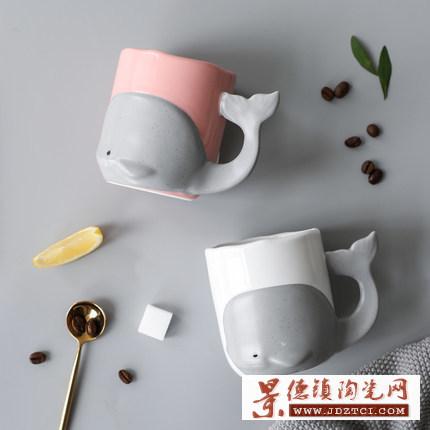 创意卡通鲸鱼可爱立体造型陶瓷马克杯