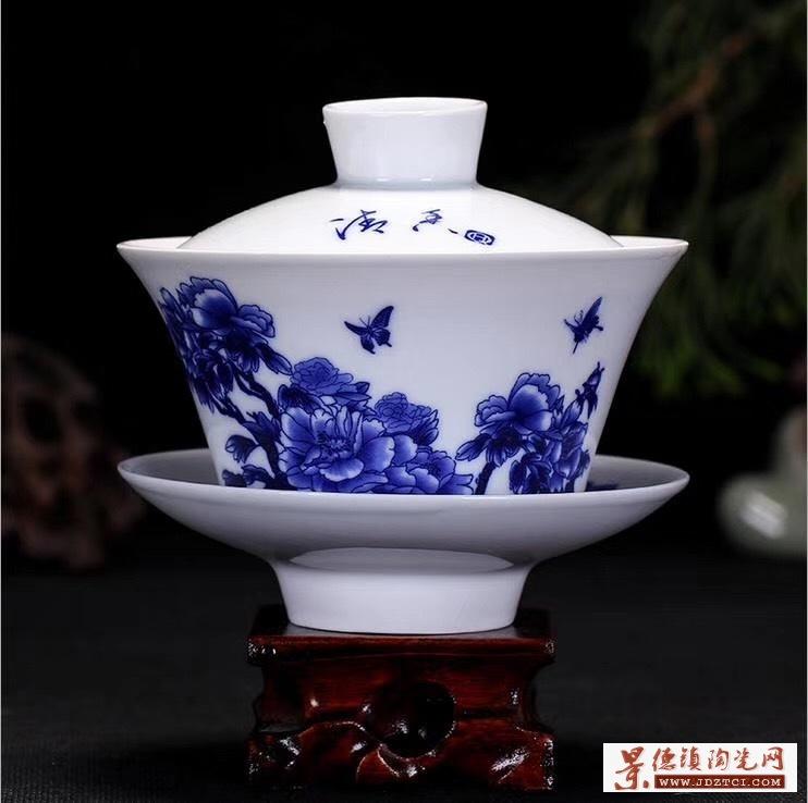 茶碗大号茶具景德镇青花瓷泡茶碗陶瓷白瓷三才碗手抓壶