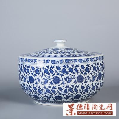 景德镇陶瓷带盖米缸