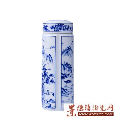 新品直销景德镇陶瓷保温杯双层内胆密封青花瓷茶杯