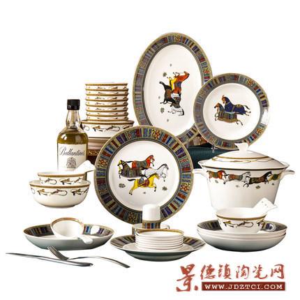 景德镇家用碗碟套装八骏图陶瓷餐具套装