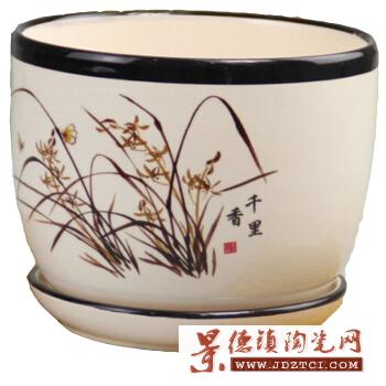 景德镇超大号青花瓷树盆花盆种铁树发财树种花送接水盘陶瓷器