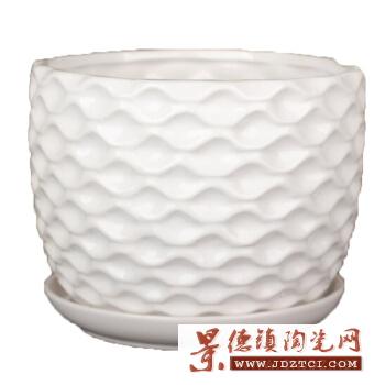 景德镇亚光圆口陶瓷花盆