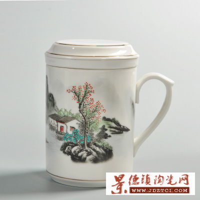 陶瓷三件套茶杯带盖过滤网青花瓷牡丹花鸟水杯主人杯喝水杯办公杯