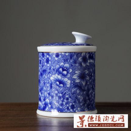 复古陶瓷茶具青花瓷茶叶盒工厂批发