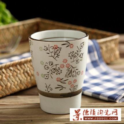 日式手绘釉下彩陶瓷杯水杯