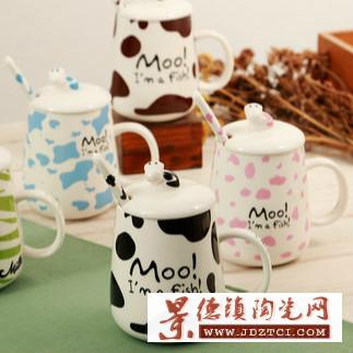 创意可爱奶牛斑点陶瓷马克杯杯带盖勺