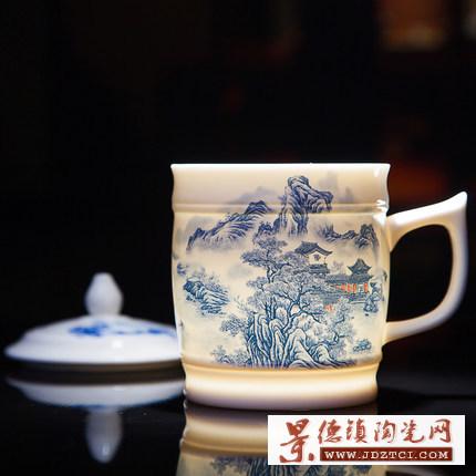 景德镇青花山水陶瓷茶杯
