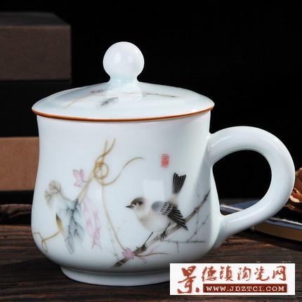 景德镇陶瓷带盖茶杯