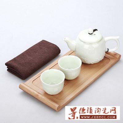送人景德镇陶瓷茶杯泡茶壶茶盘整套