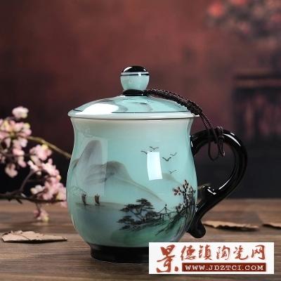 景德镇陶瓷杯带盖手绘茶杯
