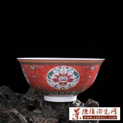 粉彩缠枝莲红牡丹花寿碗