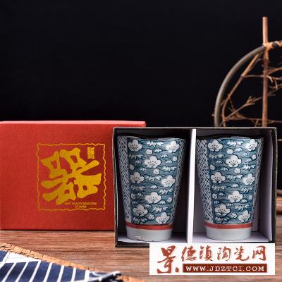 日式手绘青花陶瓷马克杯