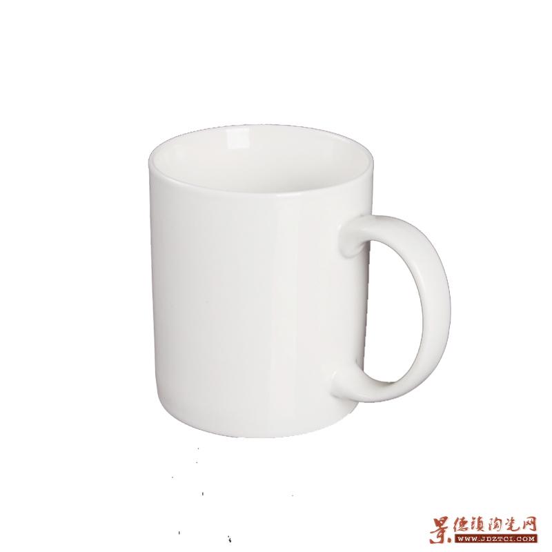 景德镇圆把陶瓷纯白色杯