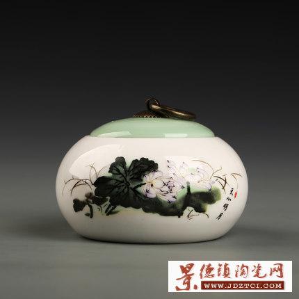 手绘陶瓷茶叶罐大号一斤装密封罐